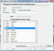 Coupon Tracker Name Brands File Maintenance Screen